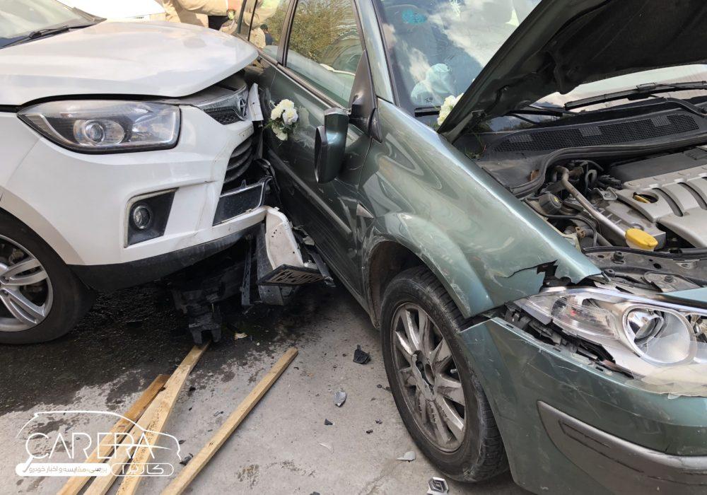 نتیجه تصادف رنو مگان و جک S5 چیست؟ + عکس carera.ir magane and jac s5 06