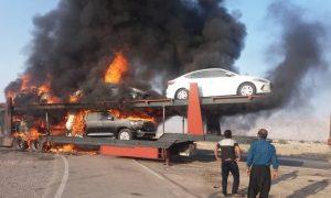 آتشگرفتن تریلی حامل خودروهای لوکس وارداتی